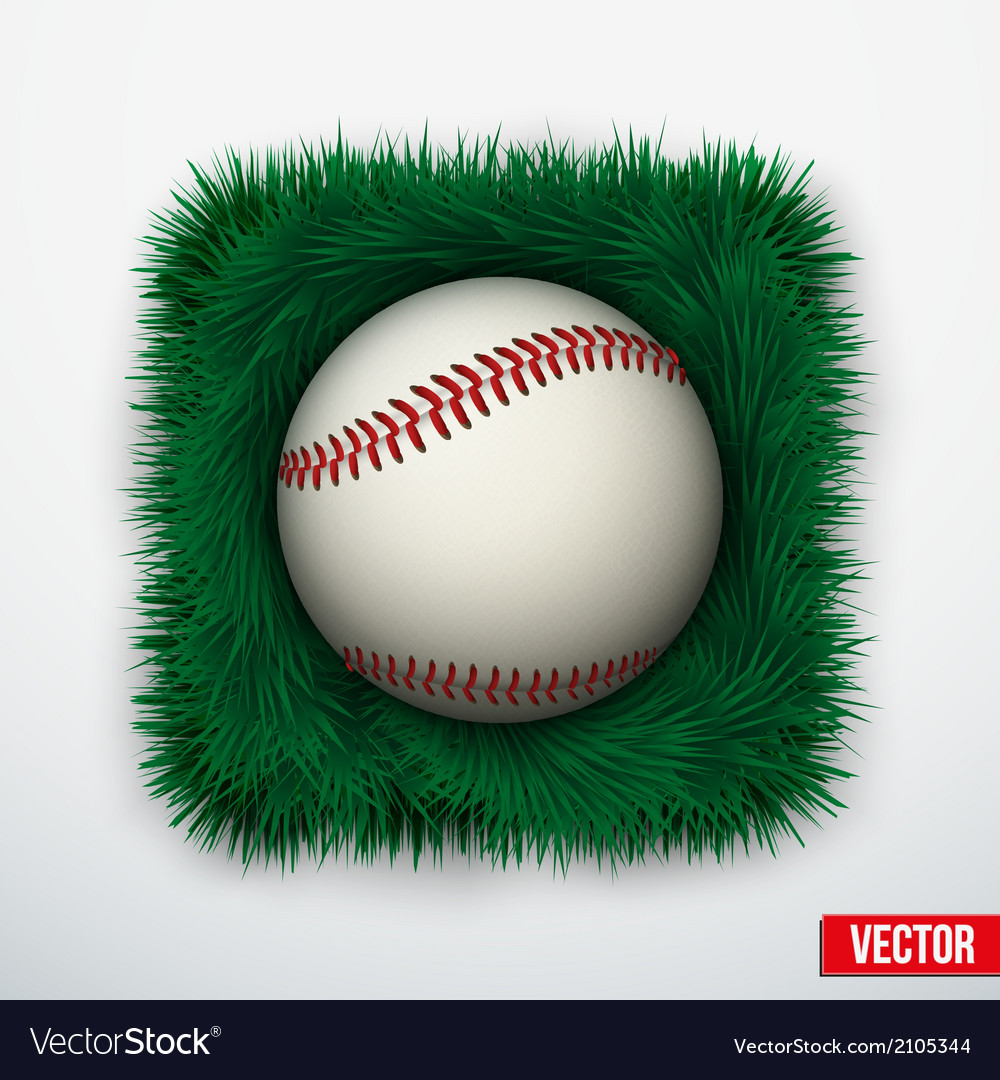 Icon baseball ball in green grass vector | Price: 1 Credit (USD $1)