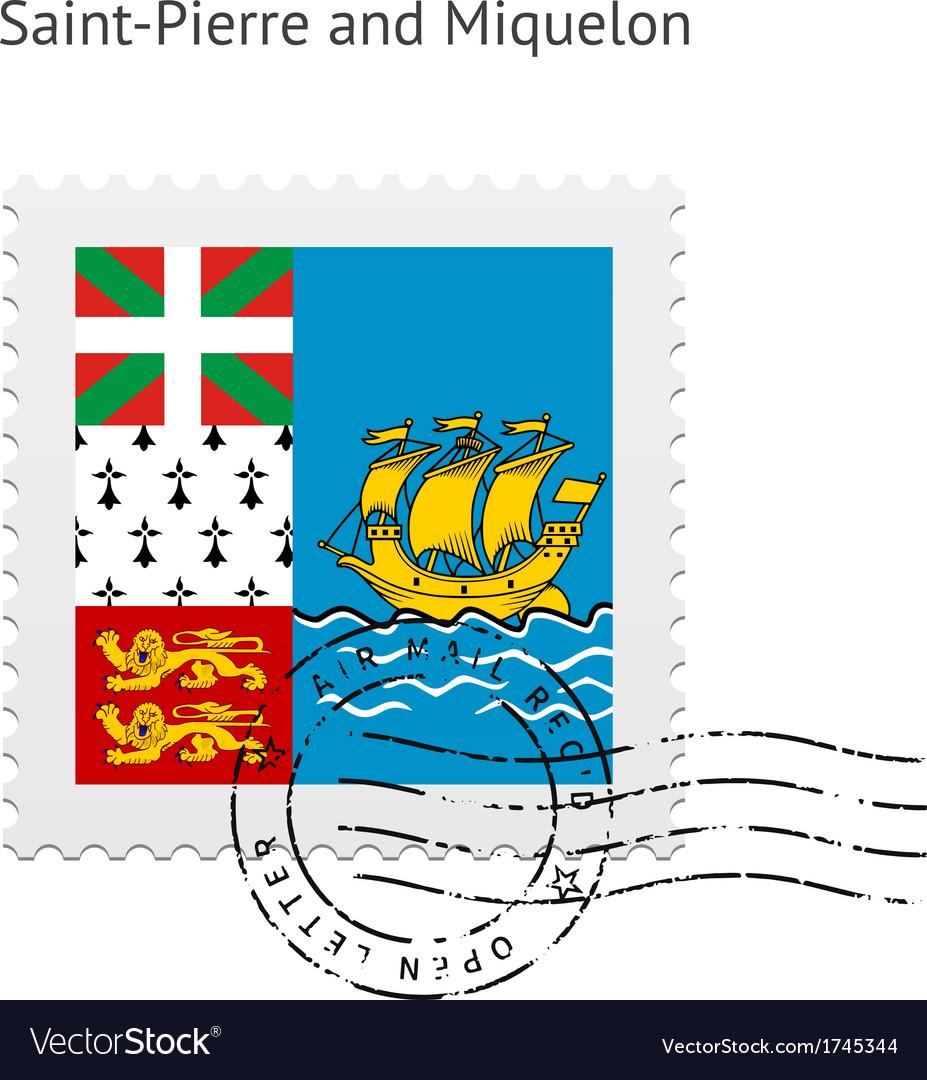 Saint-pierre and miquelon flag postage stamp vector   Price: 1 Credit (USD $1)
