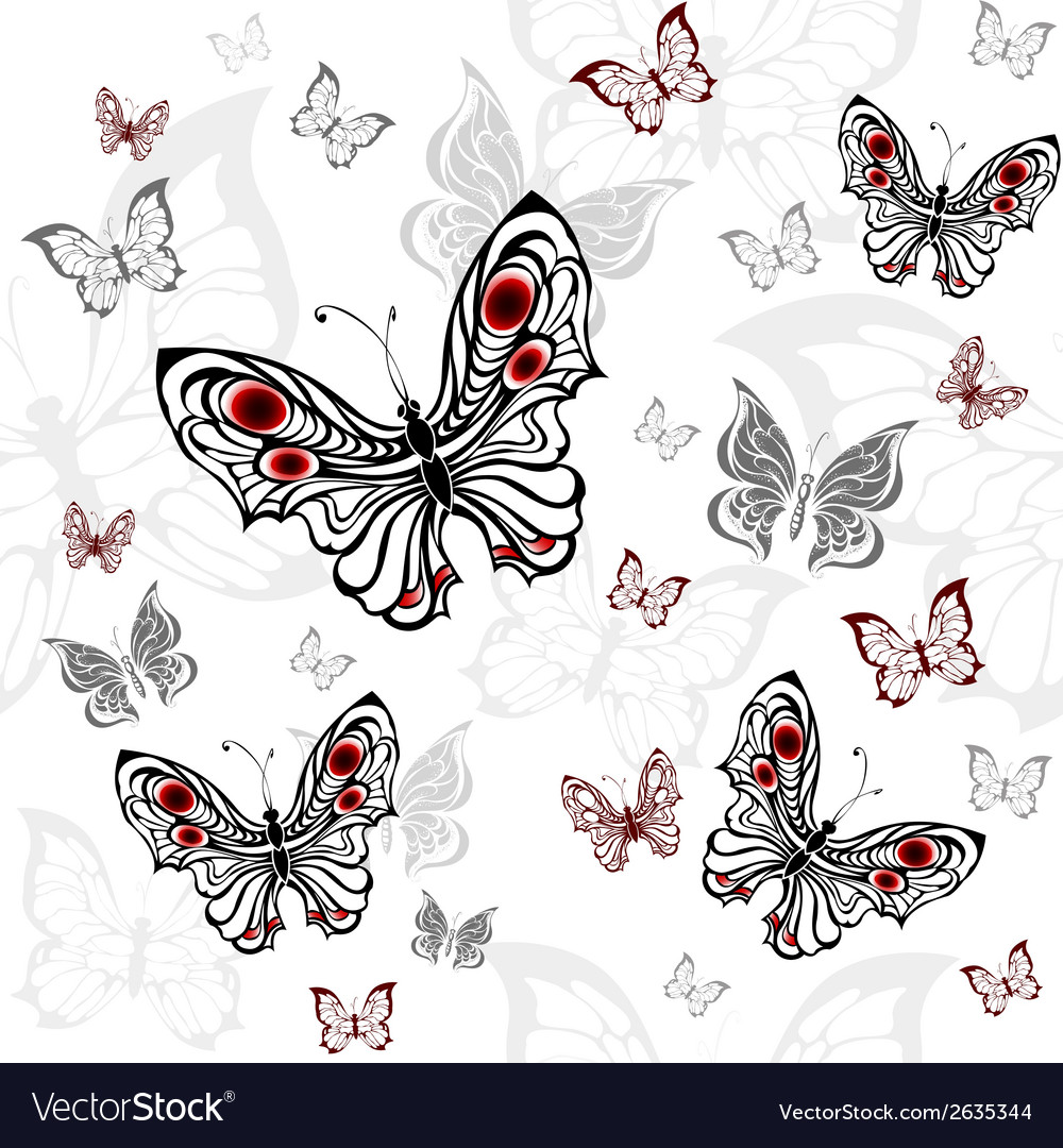 Seamless pattern of gray butterflies vector | Price: 1 Credit (USD $1)