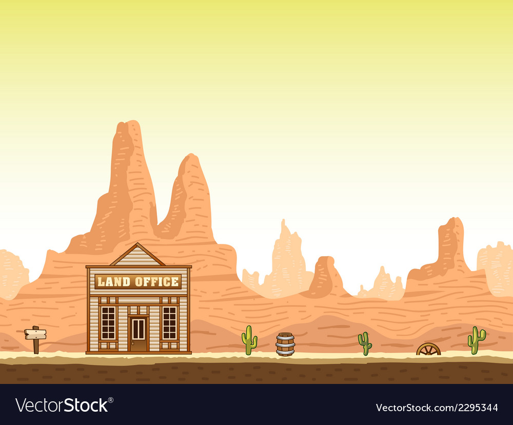 Wild old west canyon background with land office vector | Price: 1 Credit (USD $1)