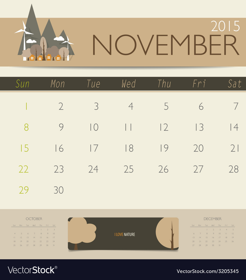 2015 calendar monthly calendar template for vector | Price: 1 Credit (USD $1)