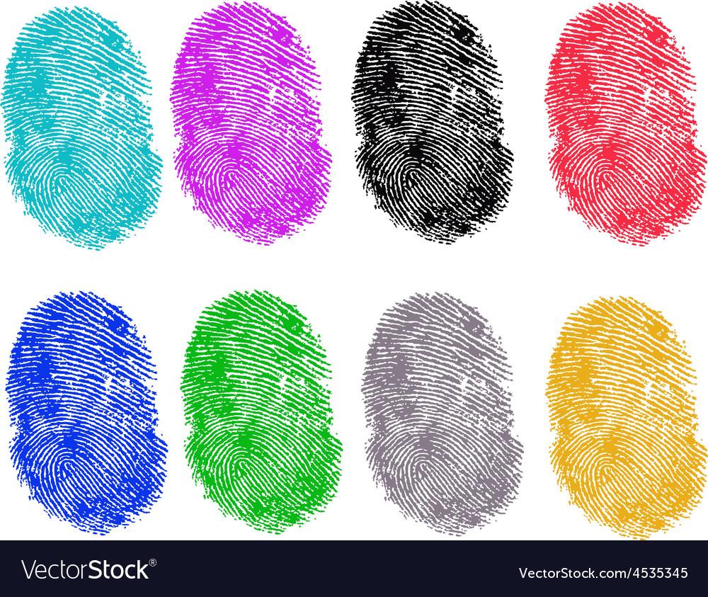 8 colored fingerprints vector | Price: 1 Credit (USD $1)