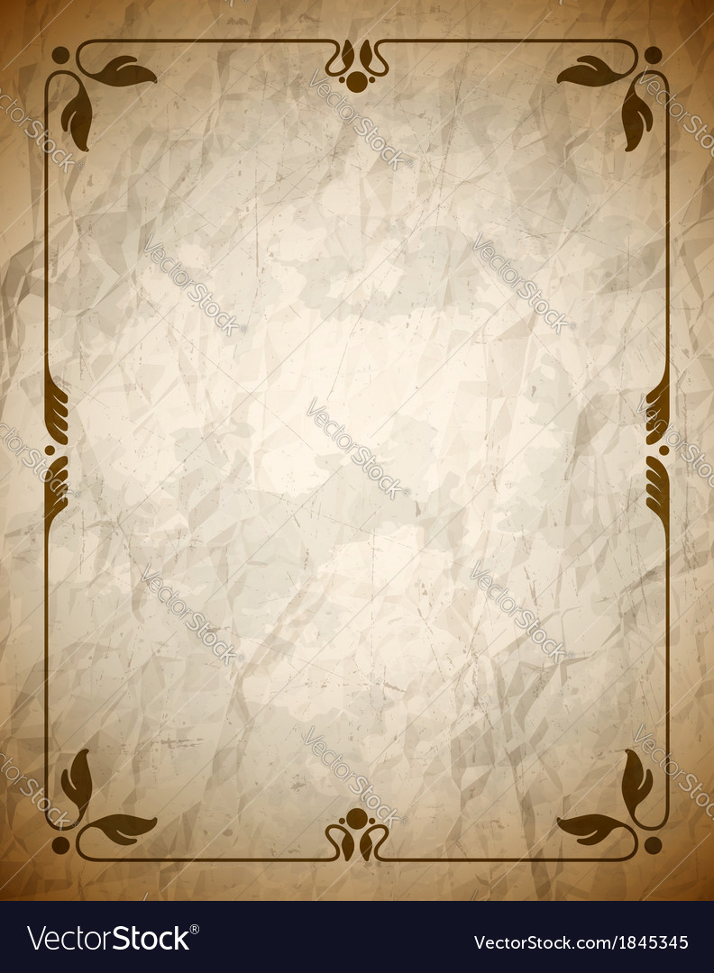 Aged crumpled brown frame with vintage ornament vector | Price: 1 Credit (USD $1)