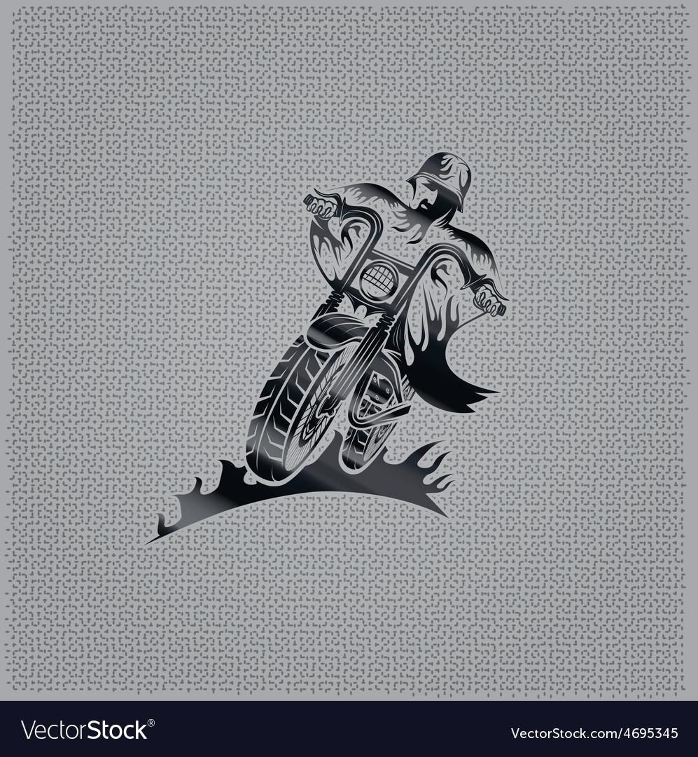 Biker man vintage emblem on metal background vector | Price: 1 Credit (USD $1)