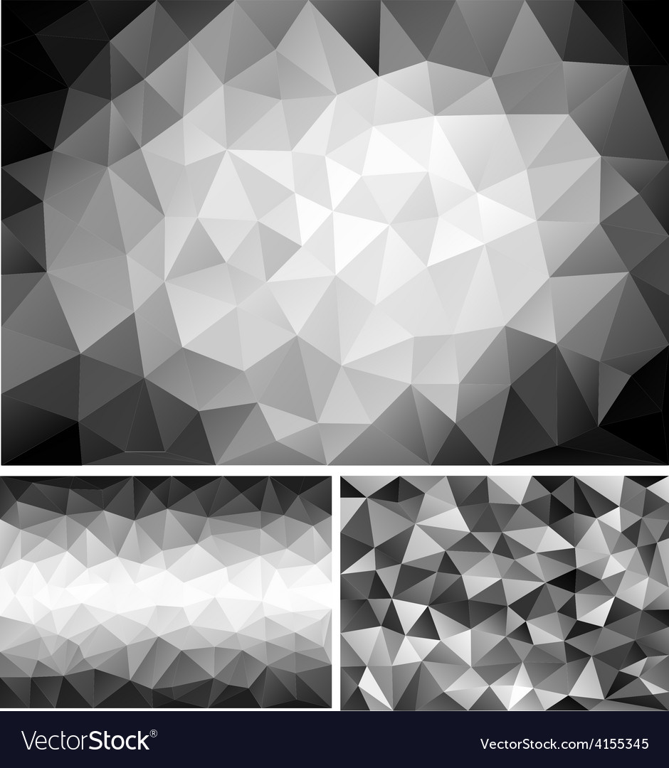 Black and white low poly backgrounds set vector | Price: 1 Credit (USD $1)