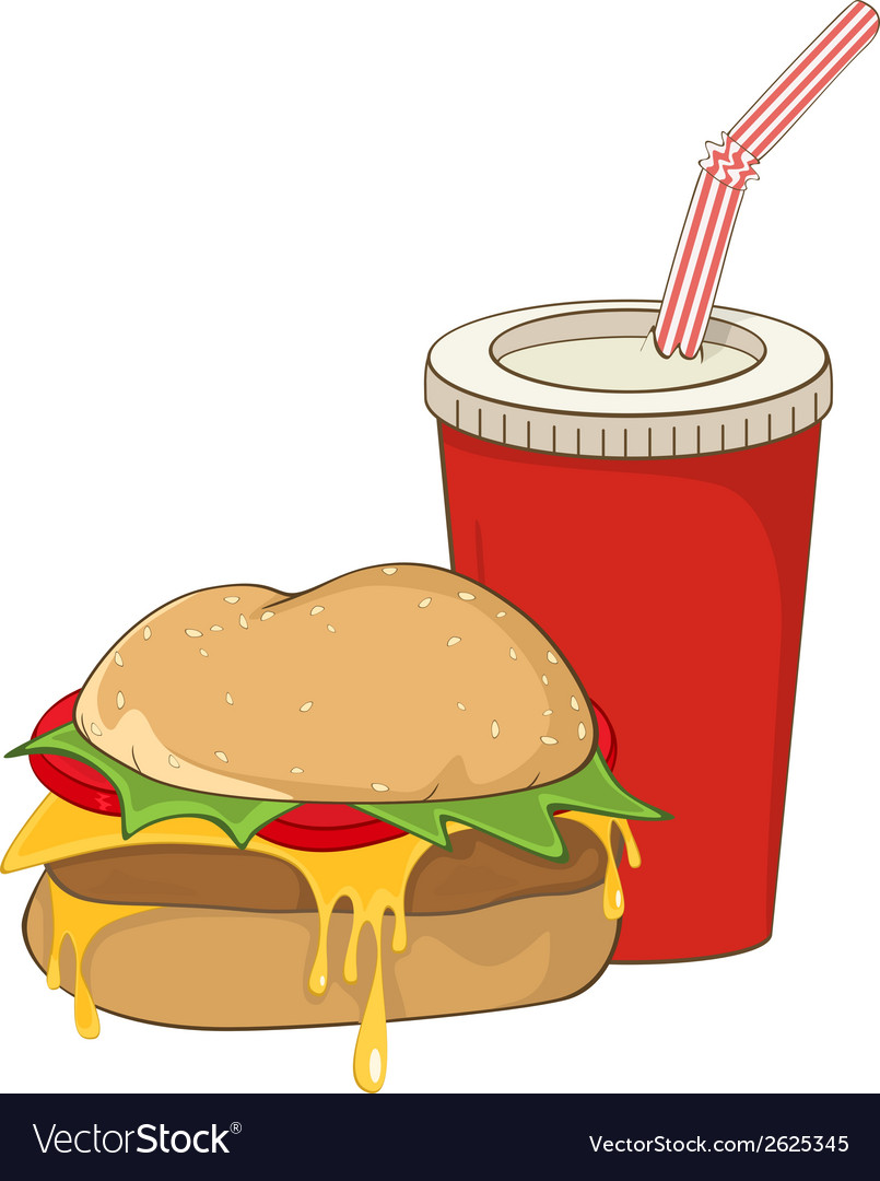 Cartoon fast food hamburger and a drink vector | Price: 1 Credit (USD $1)