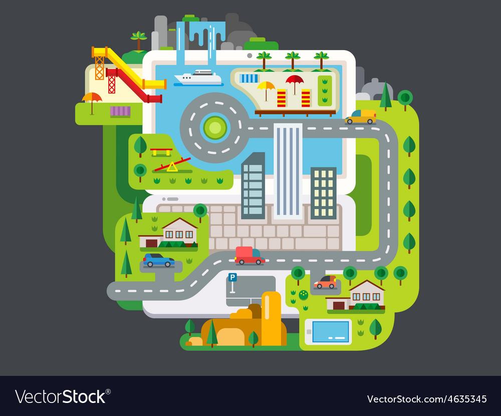 City built around laptop vector | Price: 1 Credit (USD $1)