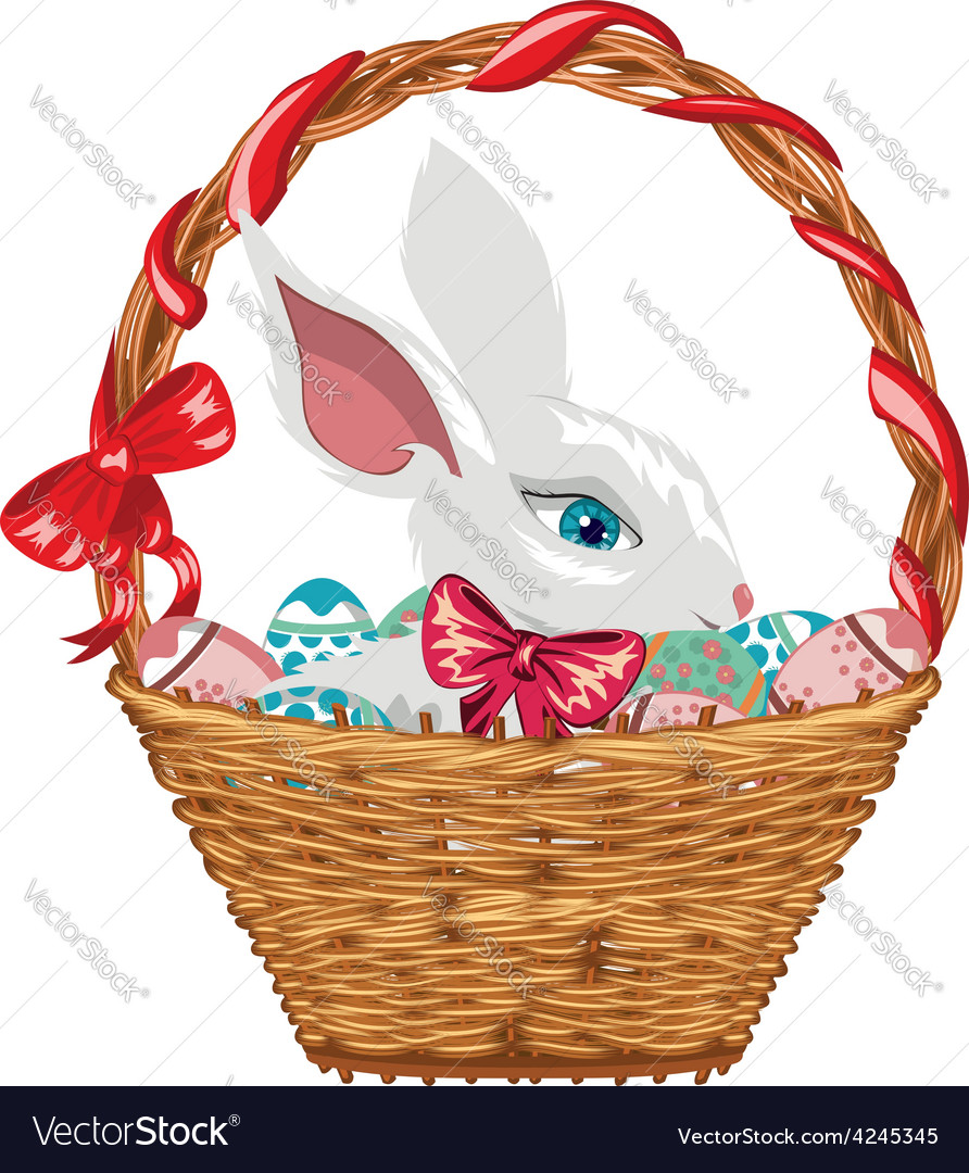 Easter bunny in basket2 vector | Price: 1 Credit (USD $1)
