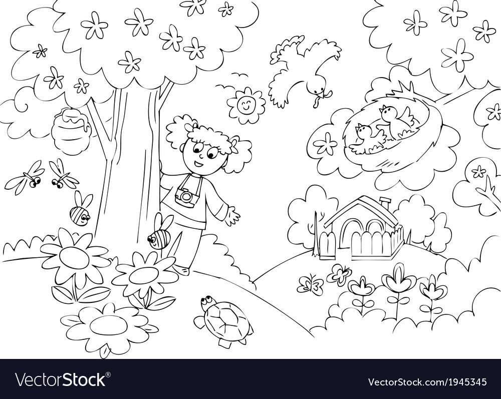 Girl in the country with photo-camera vector | Price: 1 Credit (USD $1)