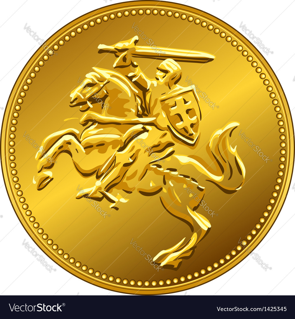 Gold money coin with knight vector | Price: 1 Credit (USD $1)