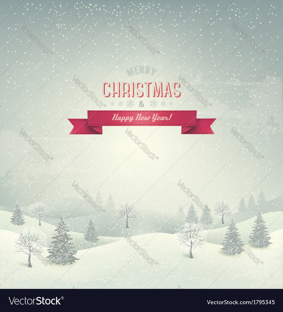 Holiday christmas background with winter landscape vector | Price: 1 Credit (USD $1)