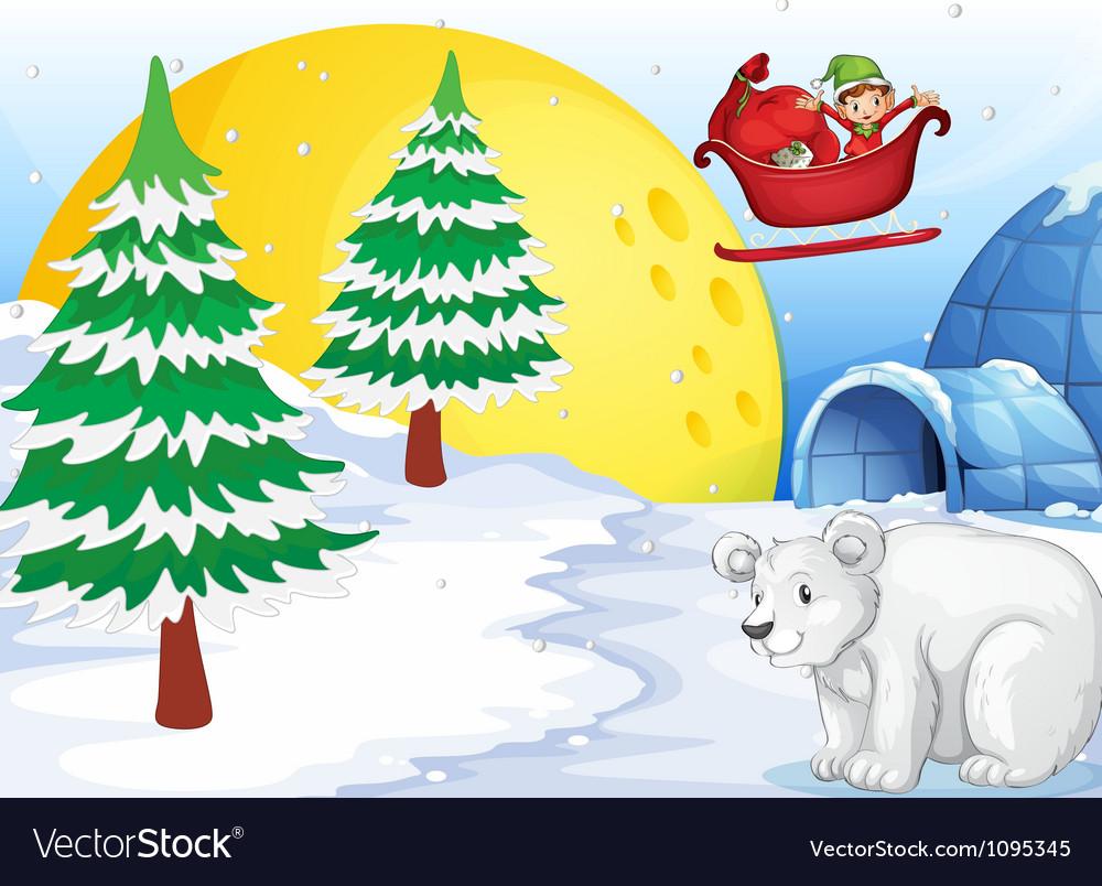 Igloo polar bear and moon vector | Price: 1 Credit (USD $1)