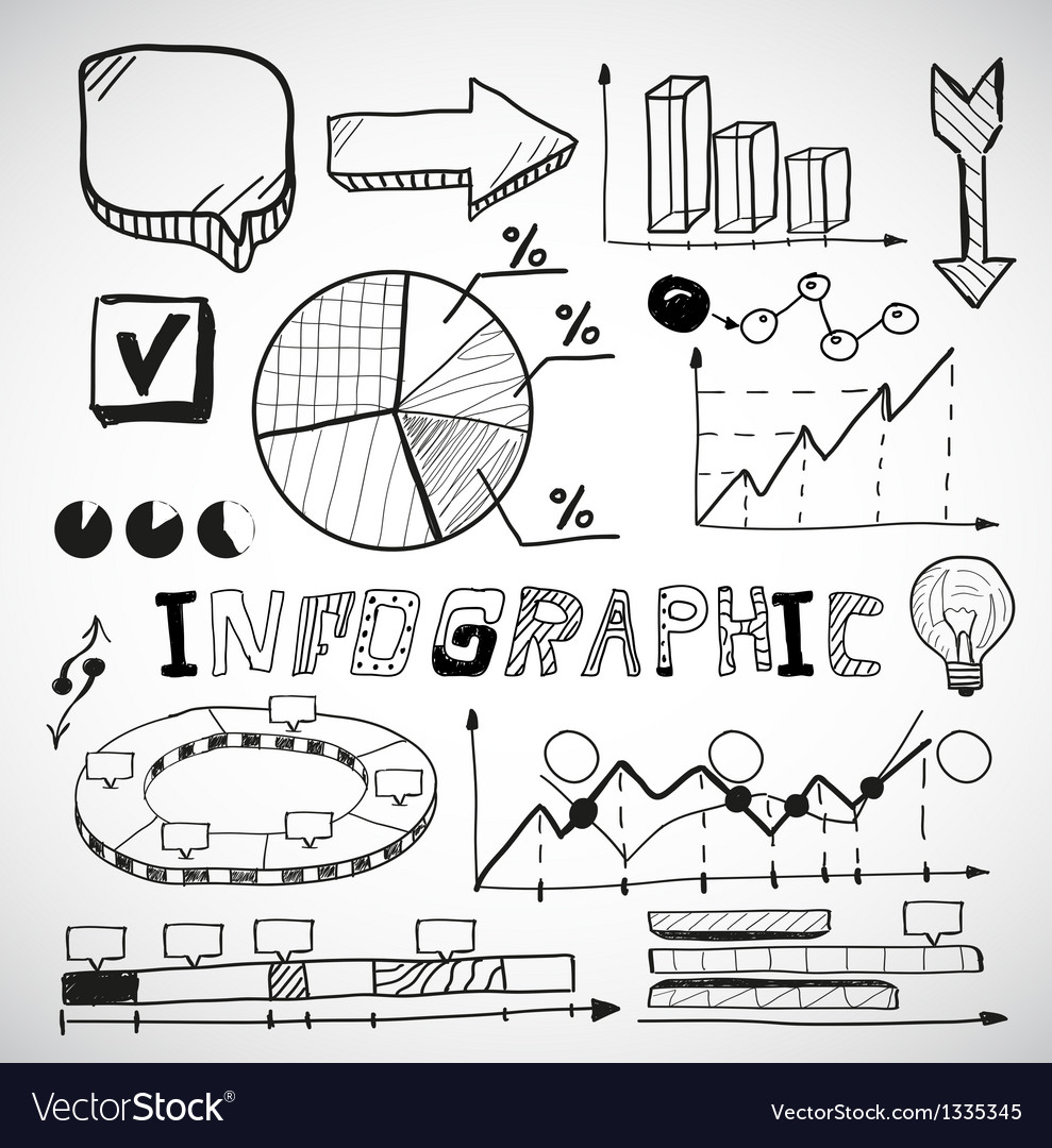 Infographic business graphs doodles vector | Price: 1 Credit (USD $1)