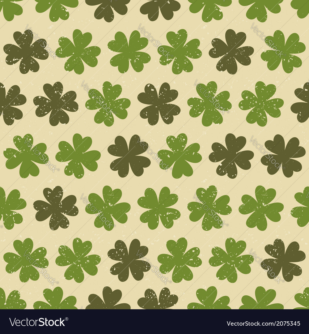 Seamless four leaf clovers green vintage pattern vector | Price: 1 Credit (USD $1)