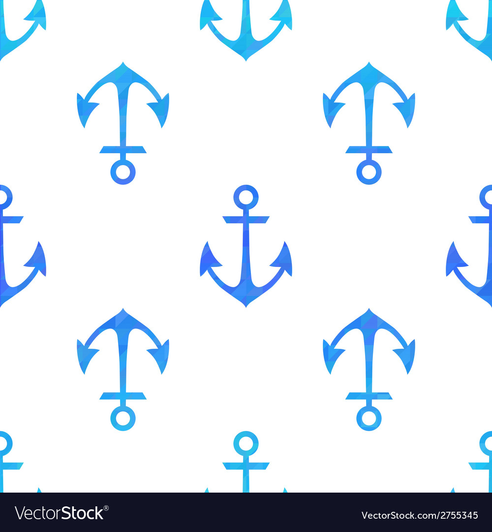 Seamless white pattern with blue anchors vector | Price: 1 Credit (USD $1)