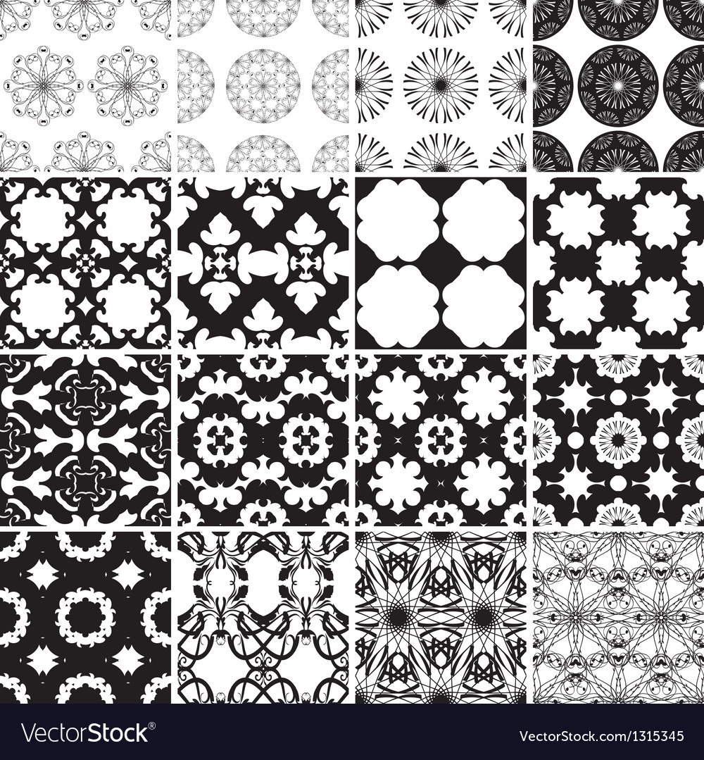 Set of black and white seamless patterns vector | Price: 1 Credit (USD $1)
