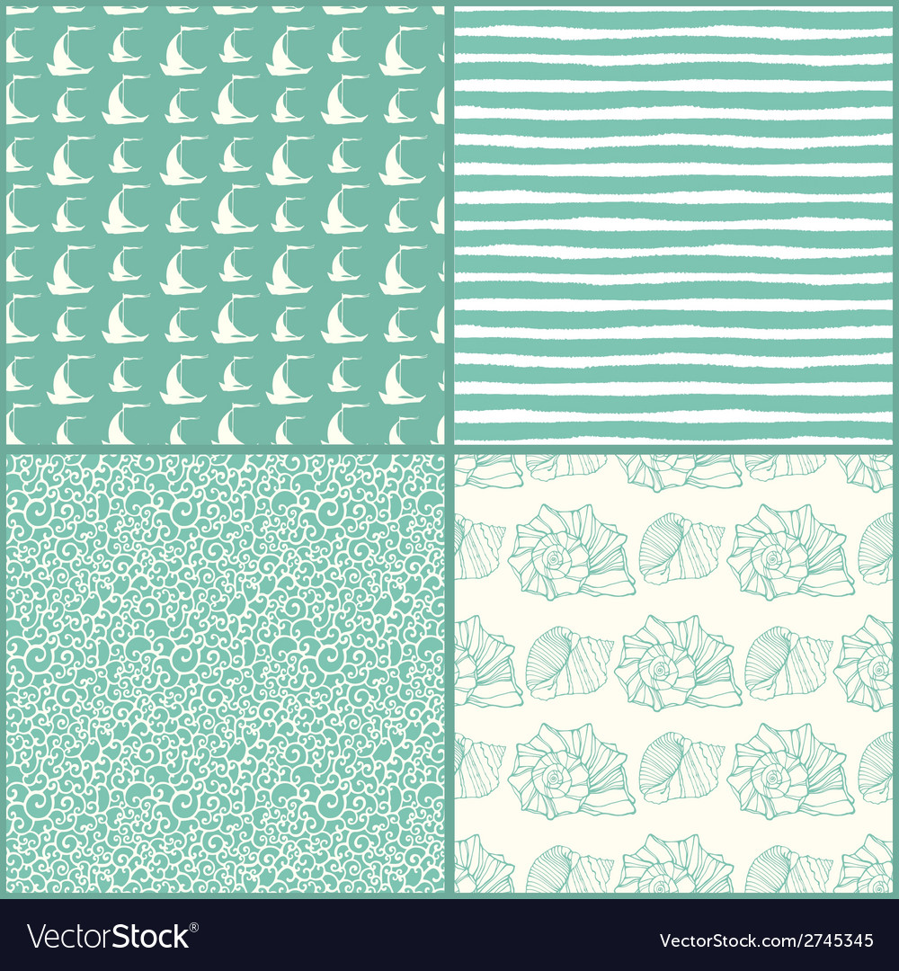 Set of decorative nautical seamless patterns vector | Price: 1 Credit (USD $1)