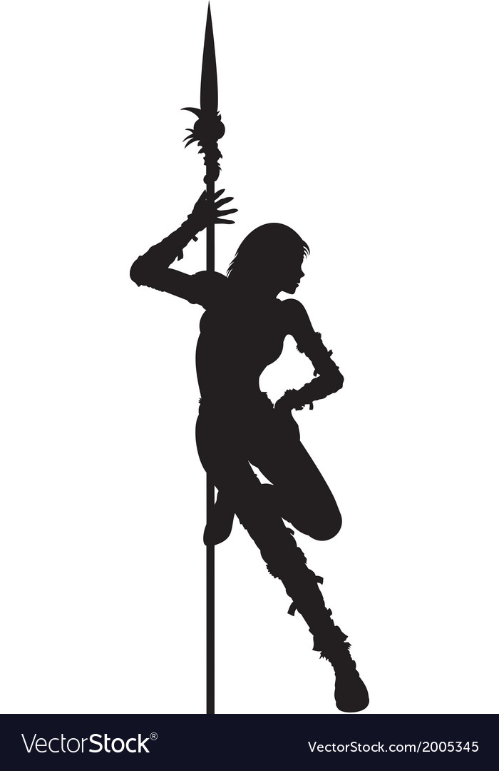 Striptease silhouette of warrior woman vector | Price: 1 Credit (USD $1)