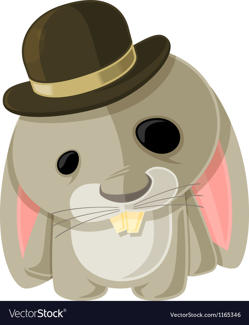 Bunny in a bowler vector | Price: 3 Credit (USD $3)
