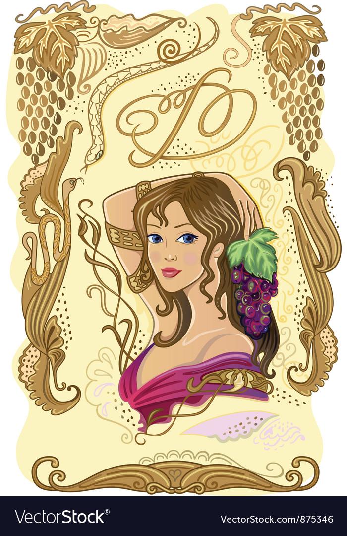 Decorated wine label vector | Price: 1 Credit (USD $1)