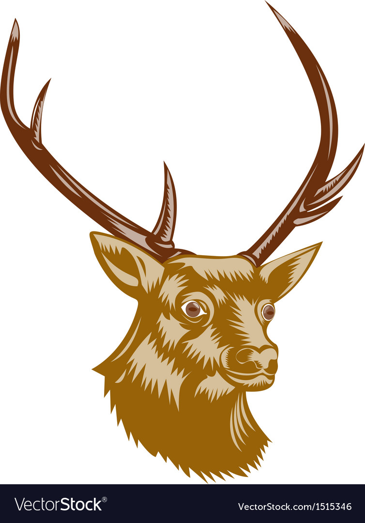 Deer stag buck woodcut retro vector | Price: 1 Credit (USD $1)