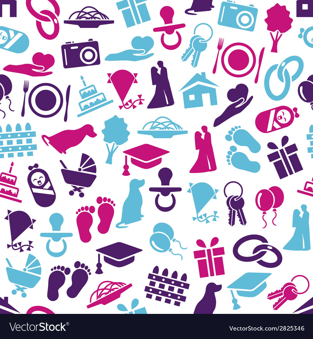 Family seamless pattern vector | Price: 1 Credit (USD $1)