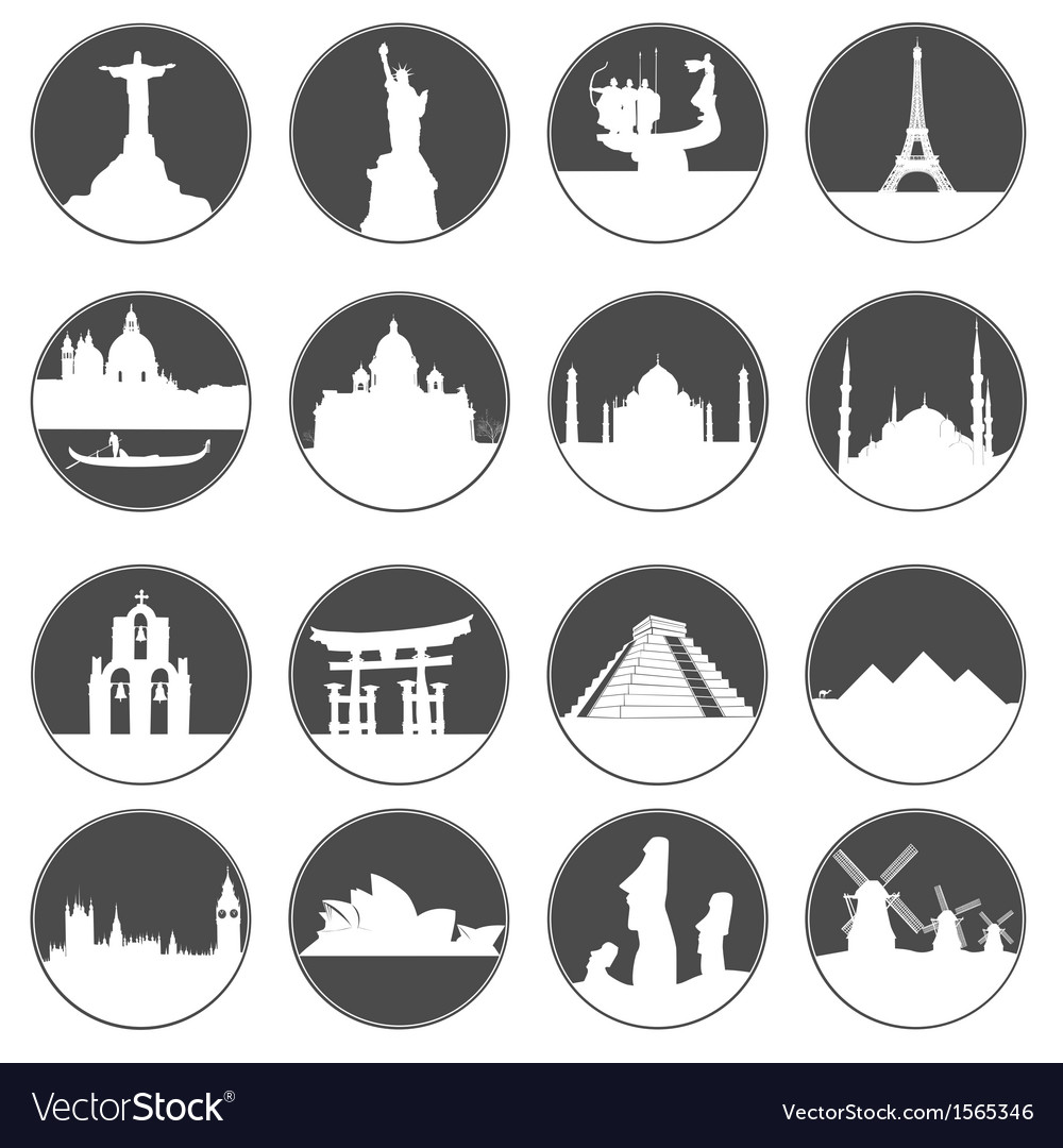 Gray button famous places vector | Price: 1 Credit (USD $1)