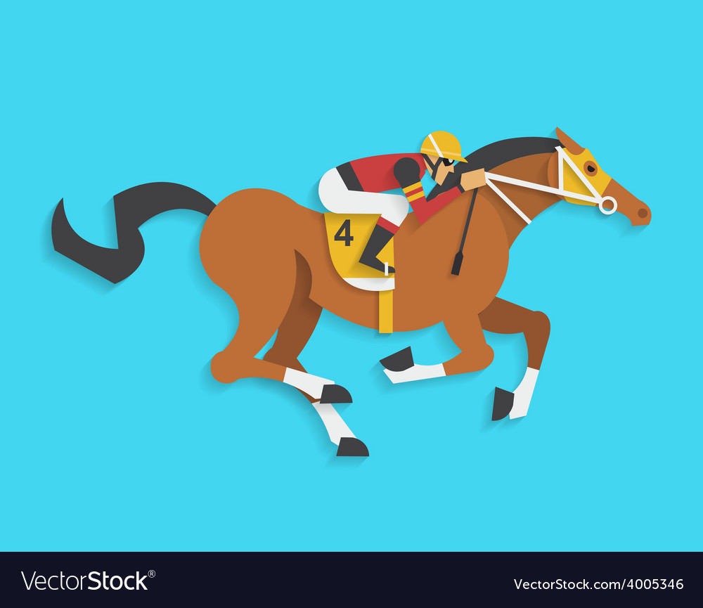 Jockey riding race horse number 4 vector | Price: 1 Credit (USD $1)