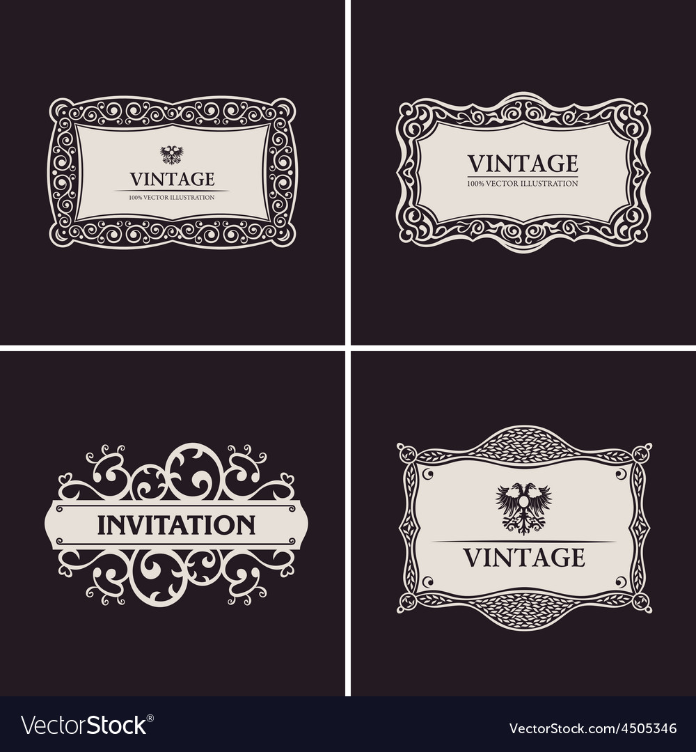 Label frames elegant border set vintage banner vector | Price: 1 Credit (USD $1)