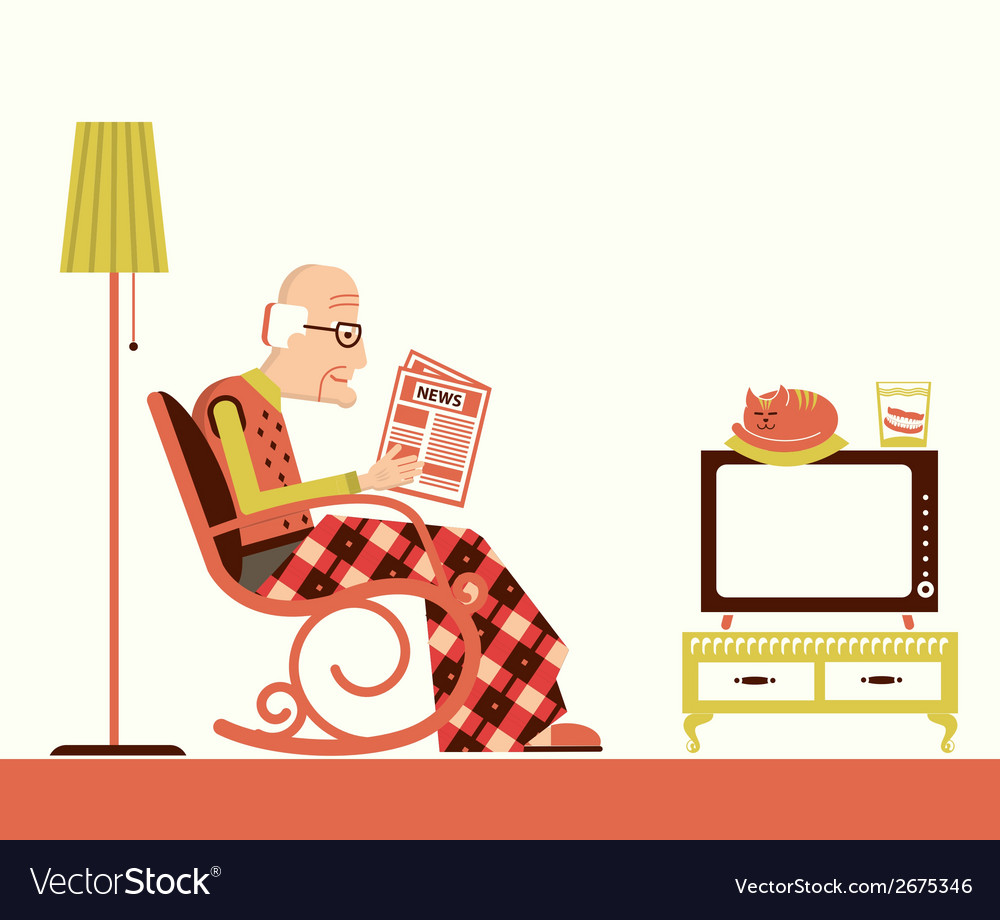 Old man sitting and reading newspaper vector | Price: 1 Credit (USD $1)