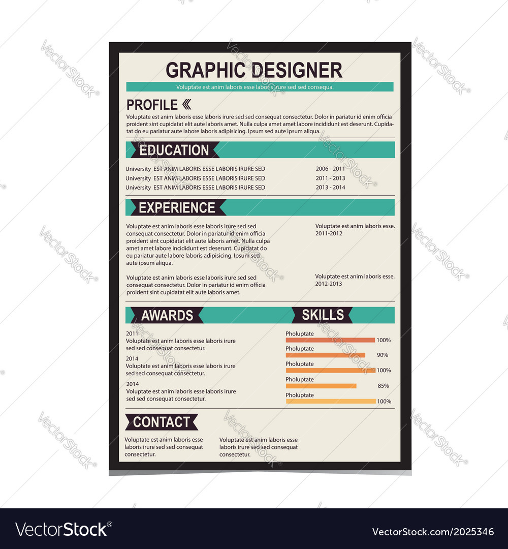 Resume template cv creative background vector | Price: 1 Credit (USD $1)