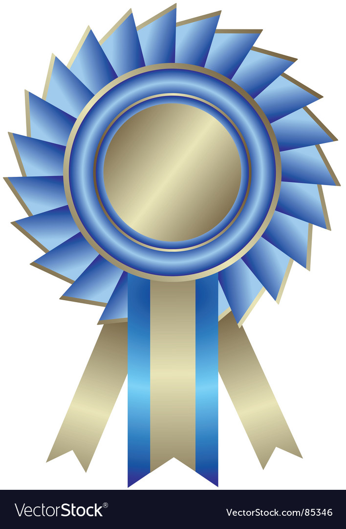 Silvery medal with blue ribbon vector | Price: 1 Credit (USD $1)