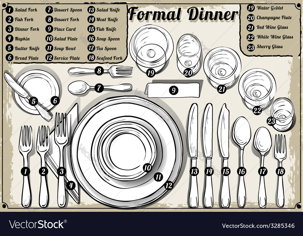 Vintage hand drawn place setting formal dinner vector | Price: 3 Credit (USD $3)