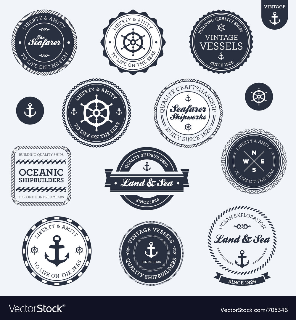 Vintage nautical labels vector | Price: 3 Credit (USD $3)