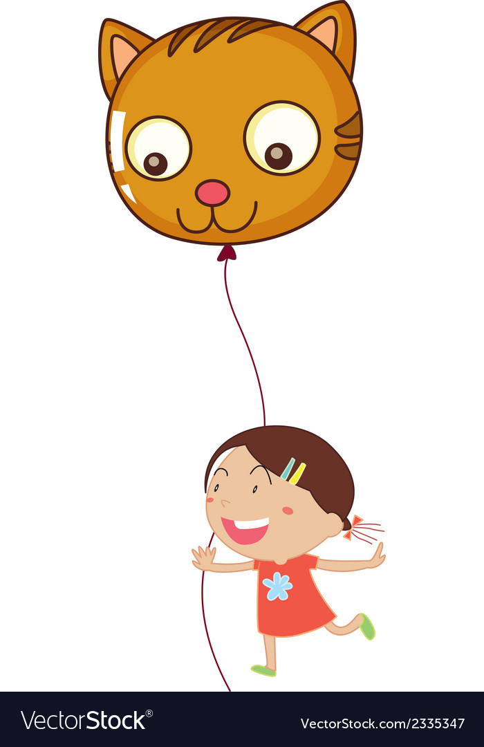 A young girl holding a cat balloon vector | Price: 1 Credit (USD $1)