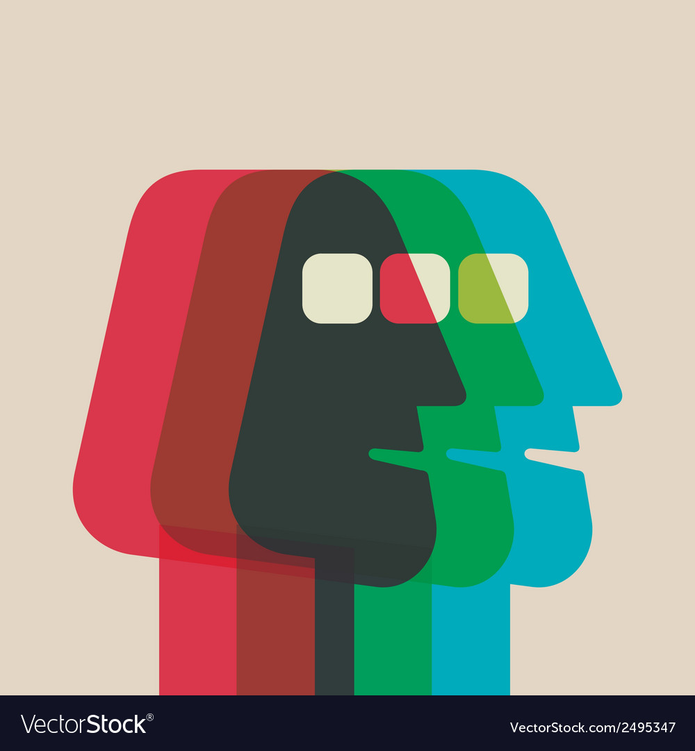 Abstract color men face overlap vector | Price: 1 Credit (USD $1)