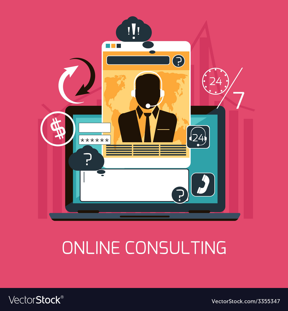 Customer online consulting service concept vector | Price: 1 Credit (USD $1)
