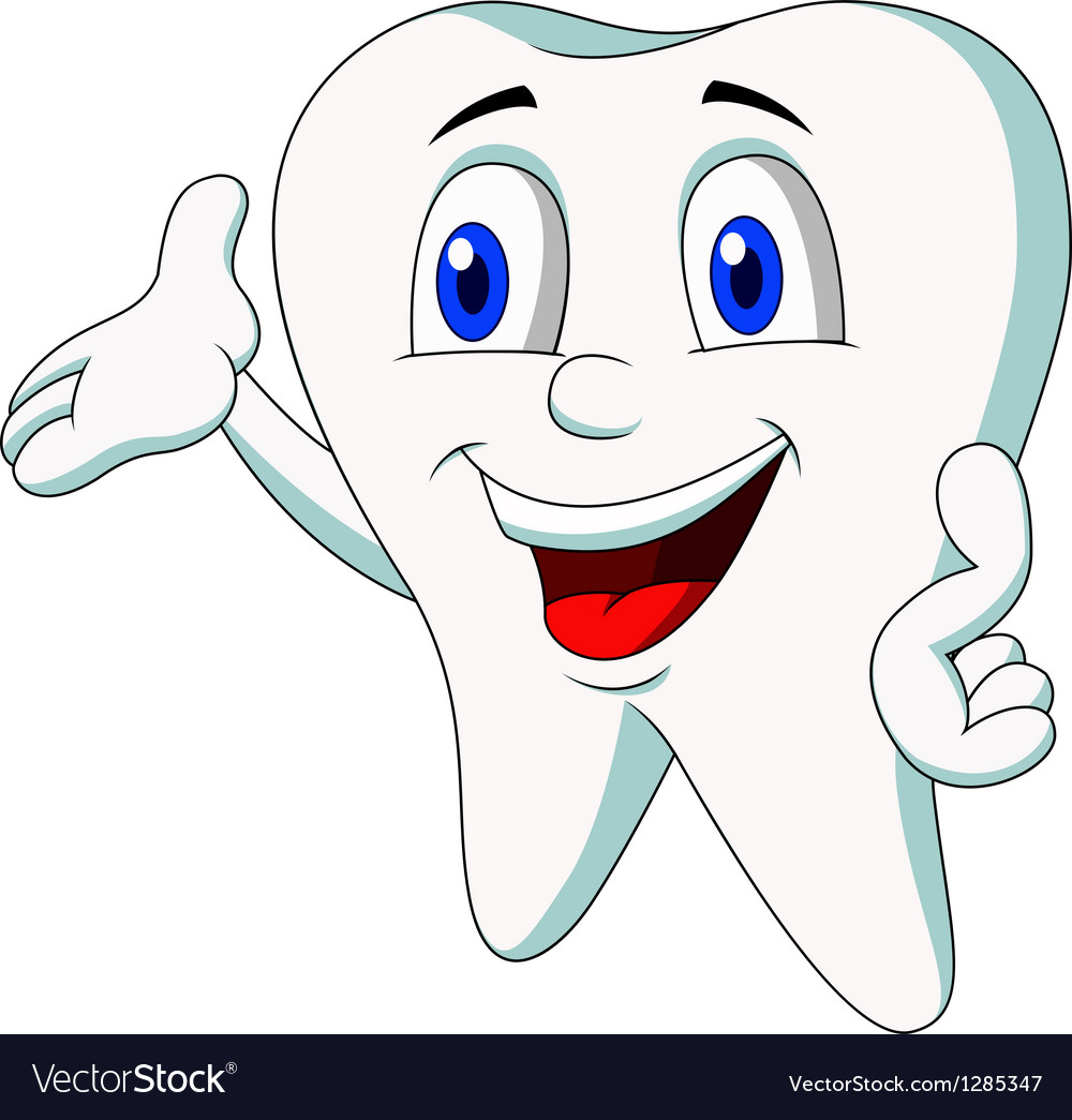 Cute tooth cartoon presenting vector | Price: 1 Credit (USD $1)