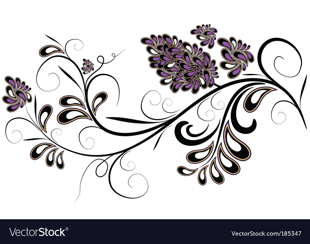 Decorative branch with lilac flowers vector | Price: 1 Credit (USD $1)