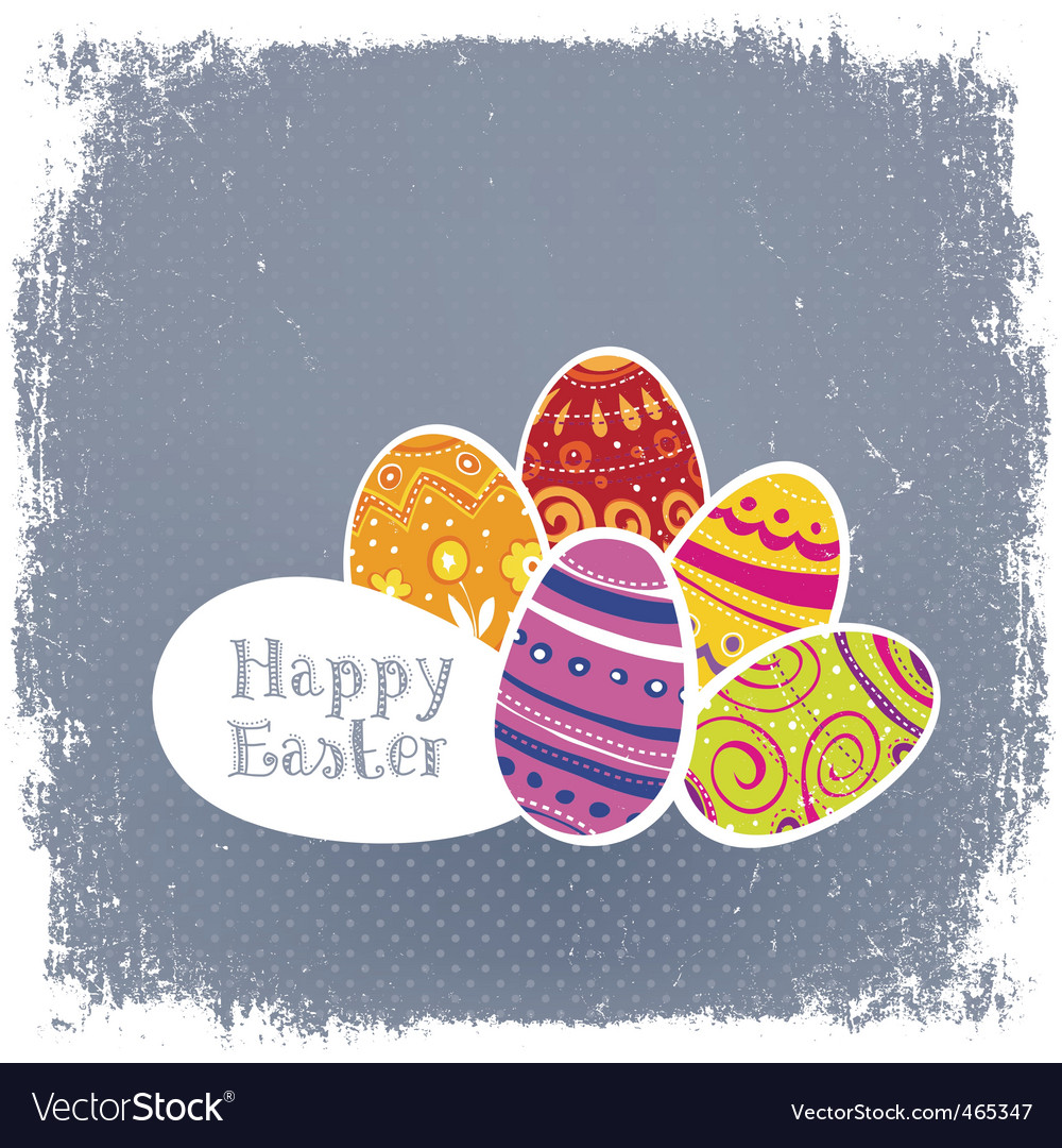 Easter eggs vintage background vector | Price: 1 Credit (USD $1)