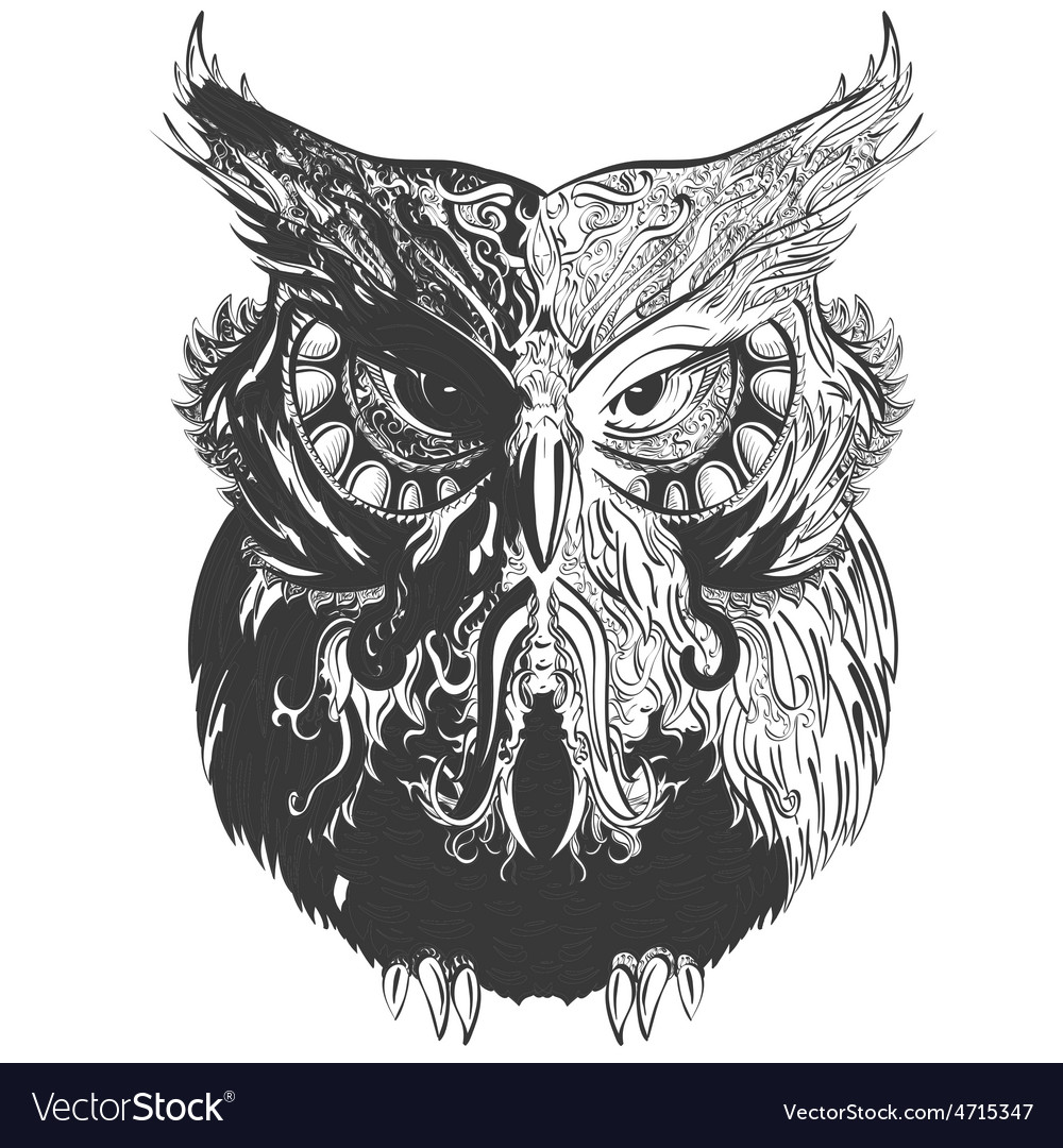 Owl shadowesd black vector