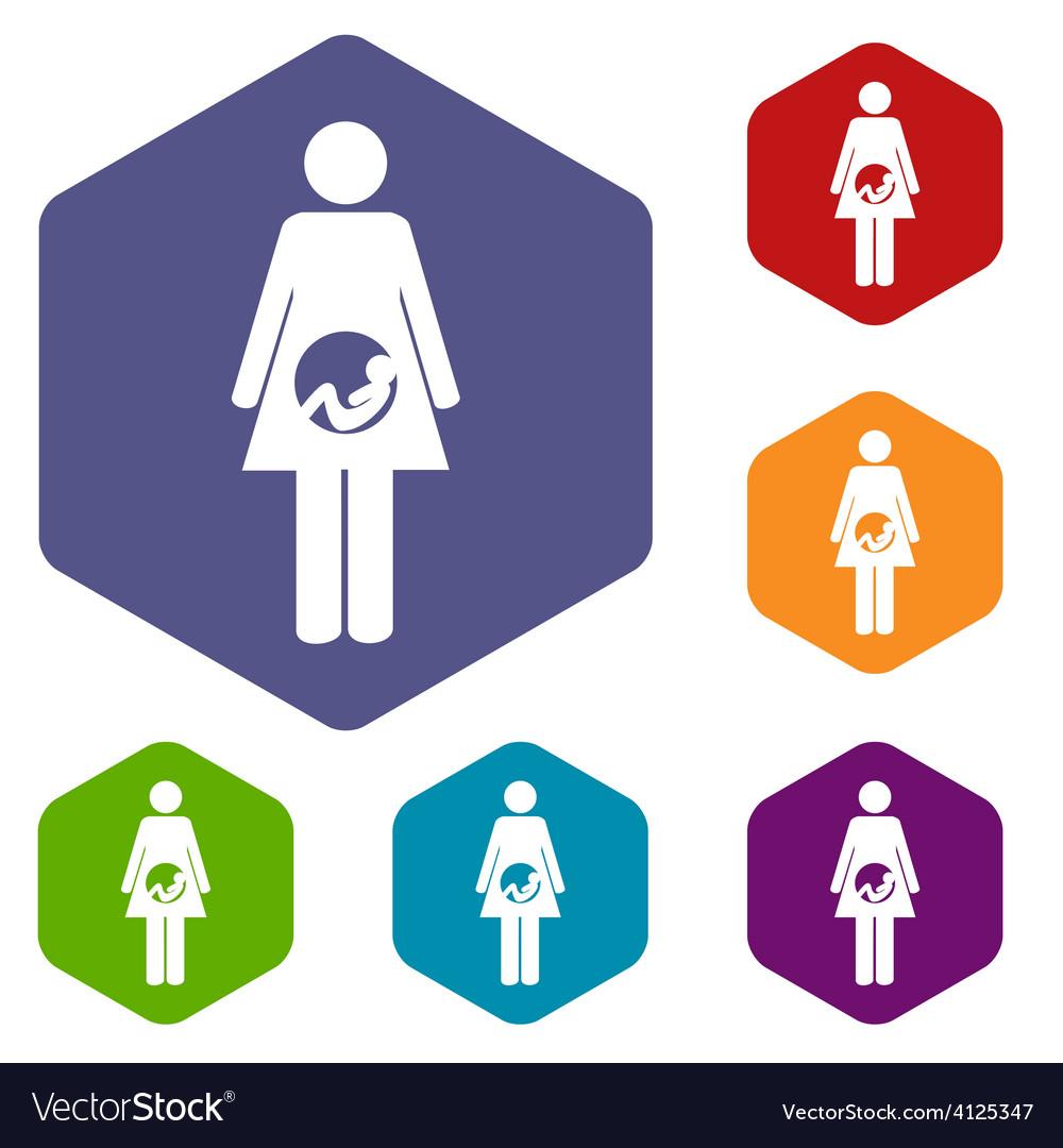 Pregnancy rhombus icons vector | Price: 1 Credit (USD $1)