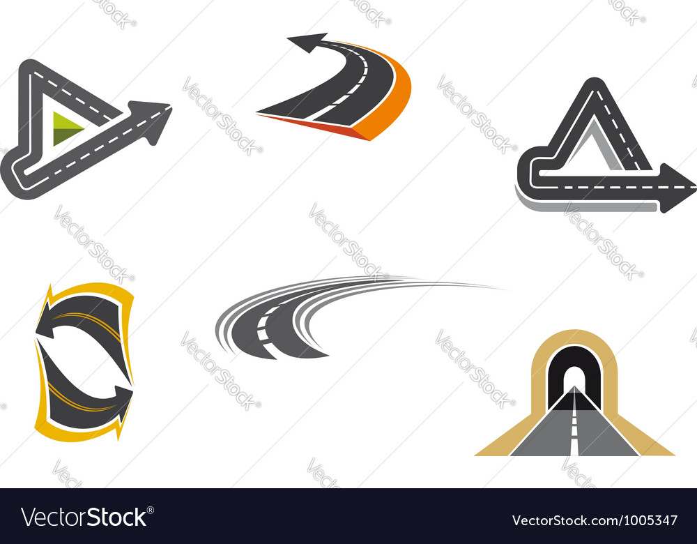 Set of road and highway icons vector | Price: 1 Credit (USD $1)