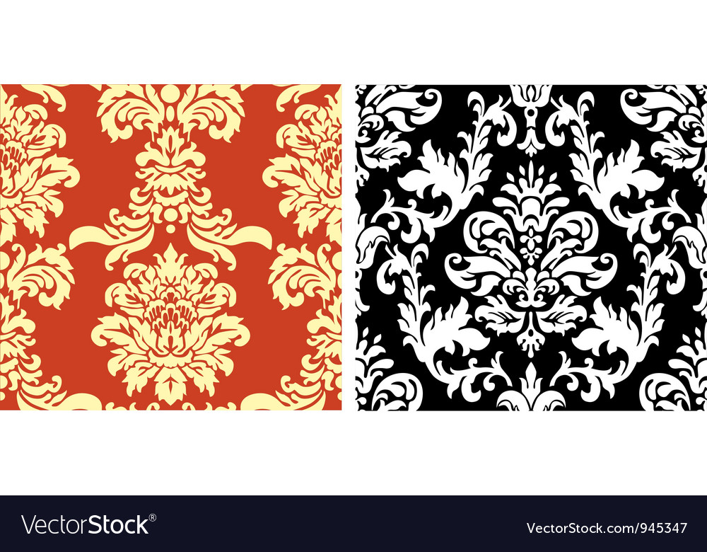 Two damask patterns vector