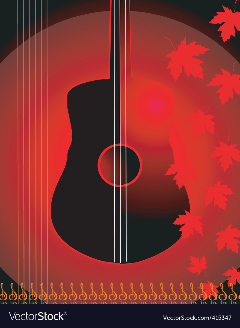 Violin and maple leaf vector | Price: 1 Credit (USD $1)