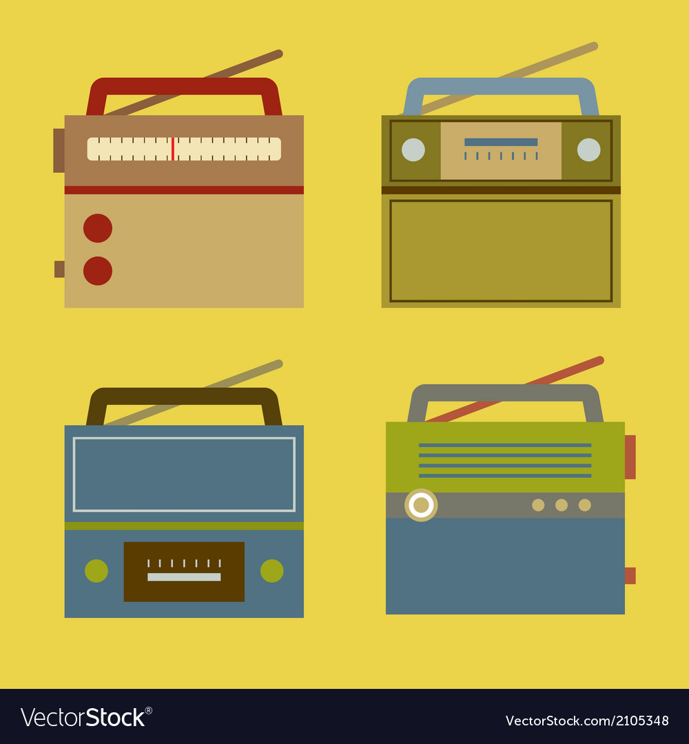 Flat design vintage radio vector | Price: 1 Credit (USD $1)