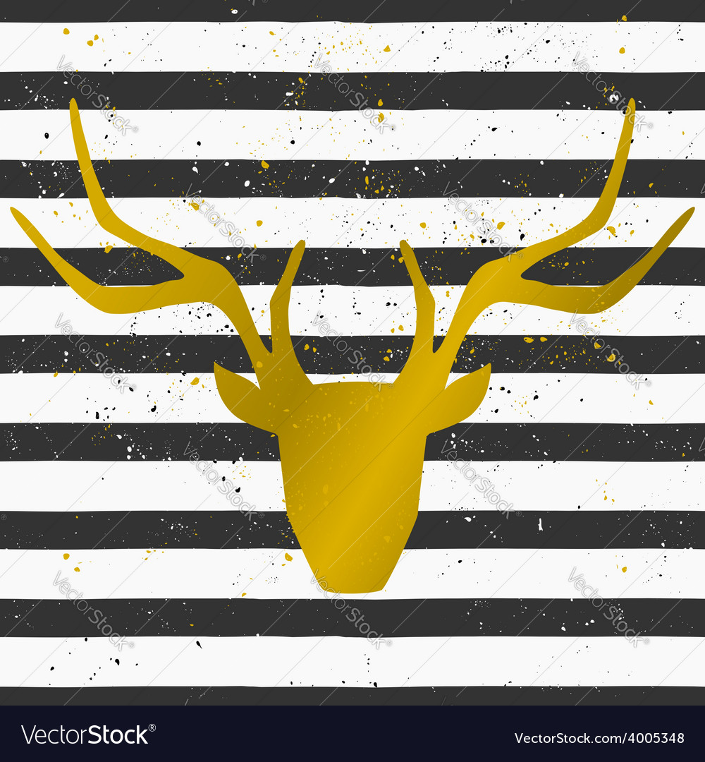 Gold deer head on a striped pattern background vector | Price: 1 Credit (USD $1)