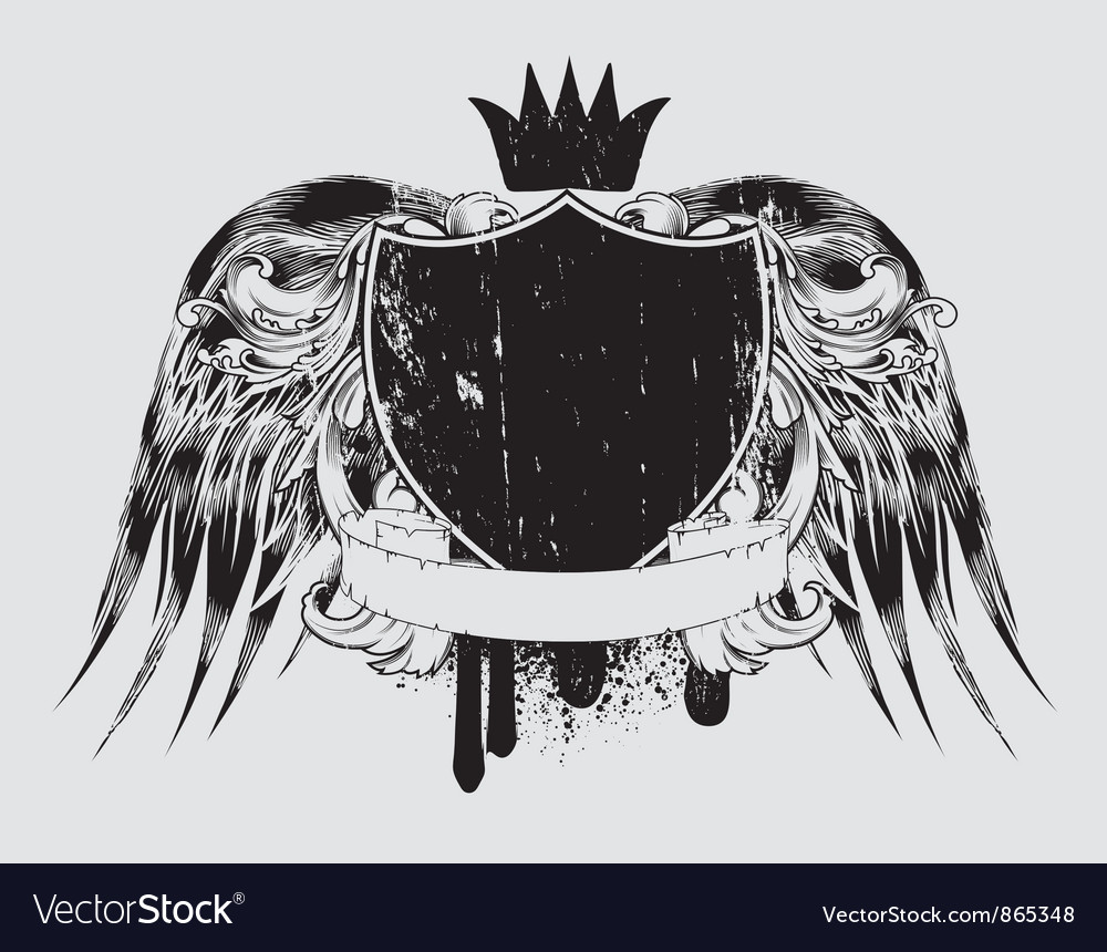 Grunge t-shirt design with shield vector | Price: 1 Credit (USD $1)