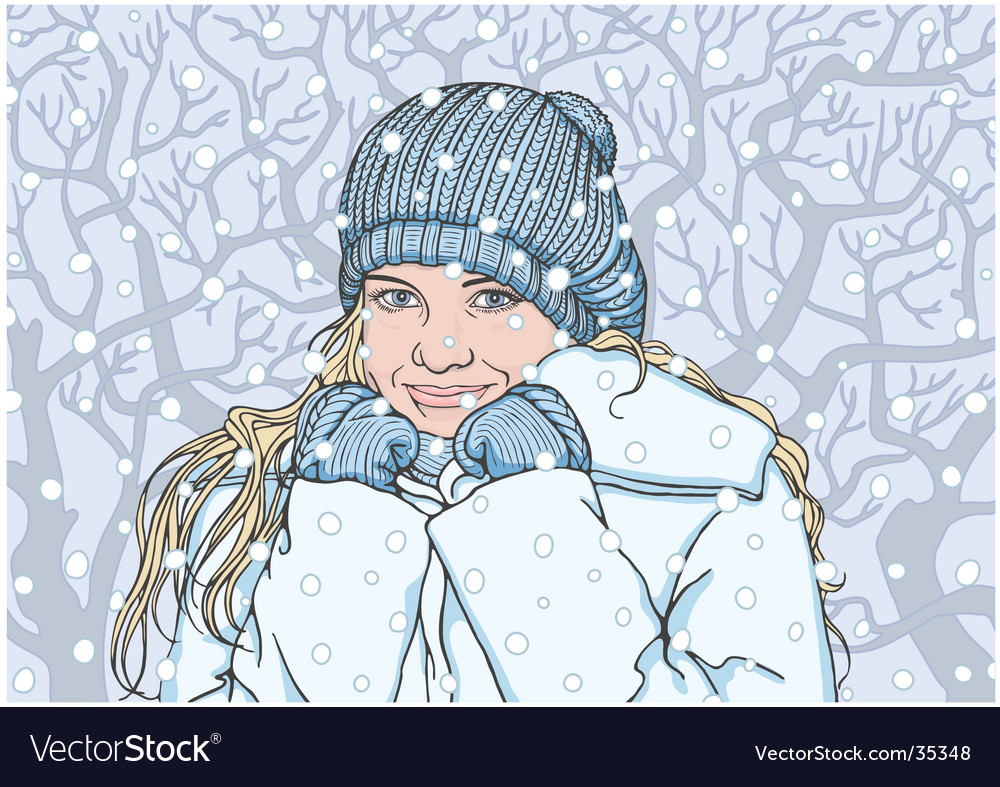 Happy girl in the winter vector | Price: 3 Credit (USD $3)