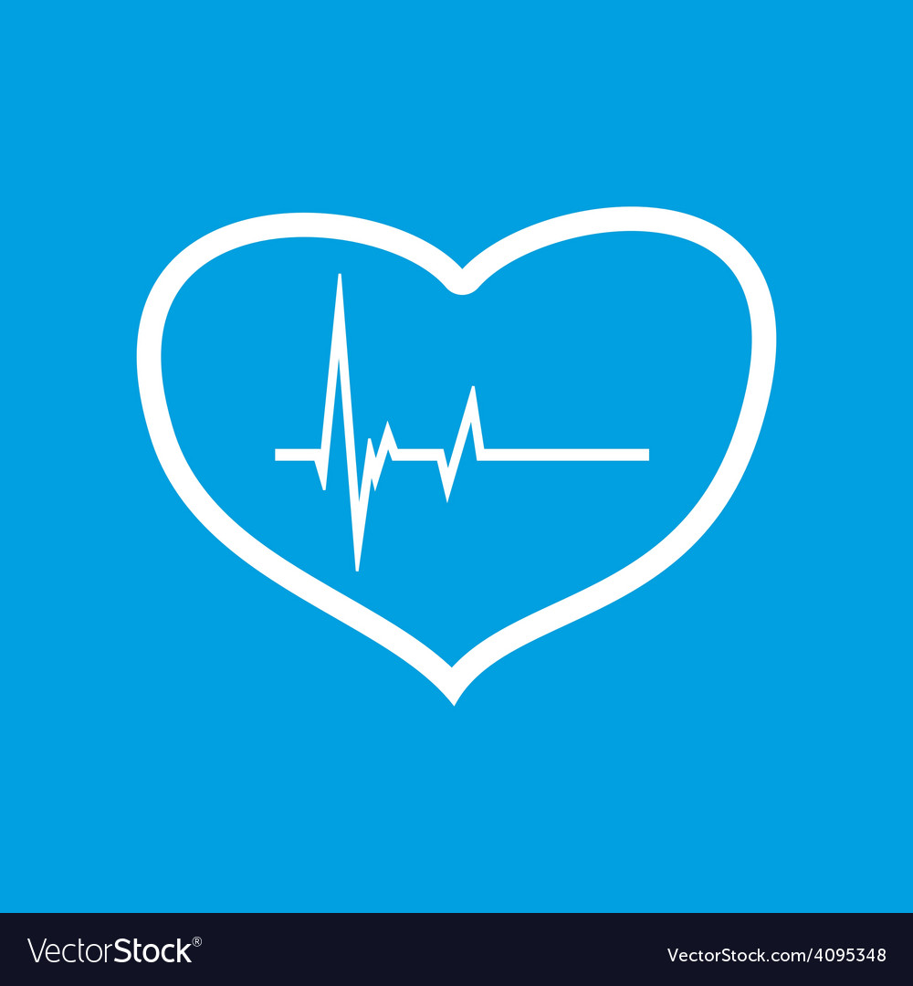 Heartbeat white icon vector | Price: 1 Credit (USD $1)